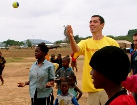 "Tommy Clark plays ""Juggling My Life"" with Grassroot Soccer participants in Zambia on World Aids Day, 2006."