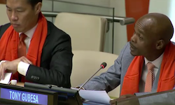 Tony Gubesa speaks at UN