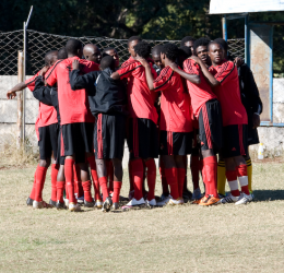 Bantu Rovers team huddle