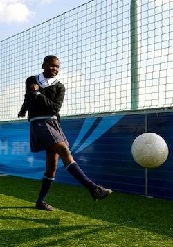 Girl playing soccer