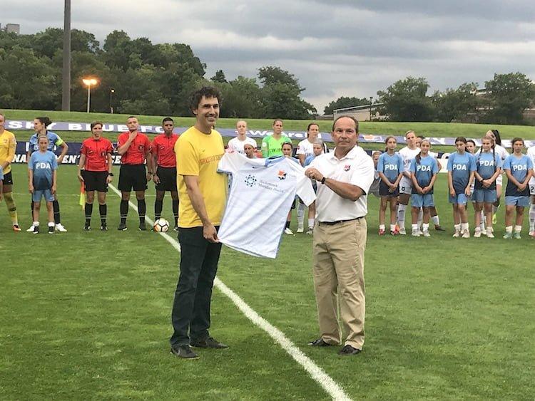 Sky Blue FC & Grassroot Soccer shirt presentation