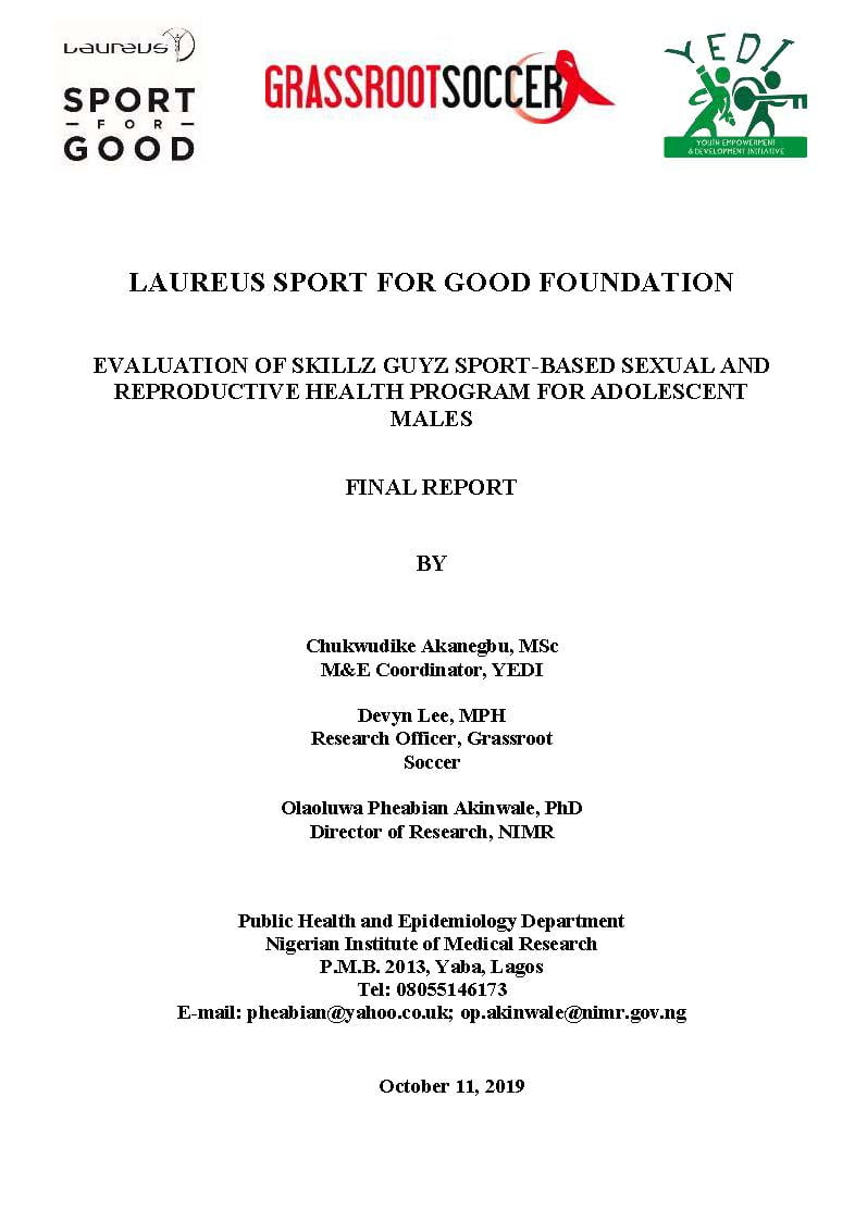 Laureus YEDI GRS SKILLZ Guyz Evaluation Report cover